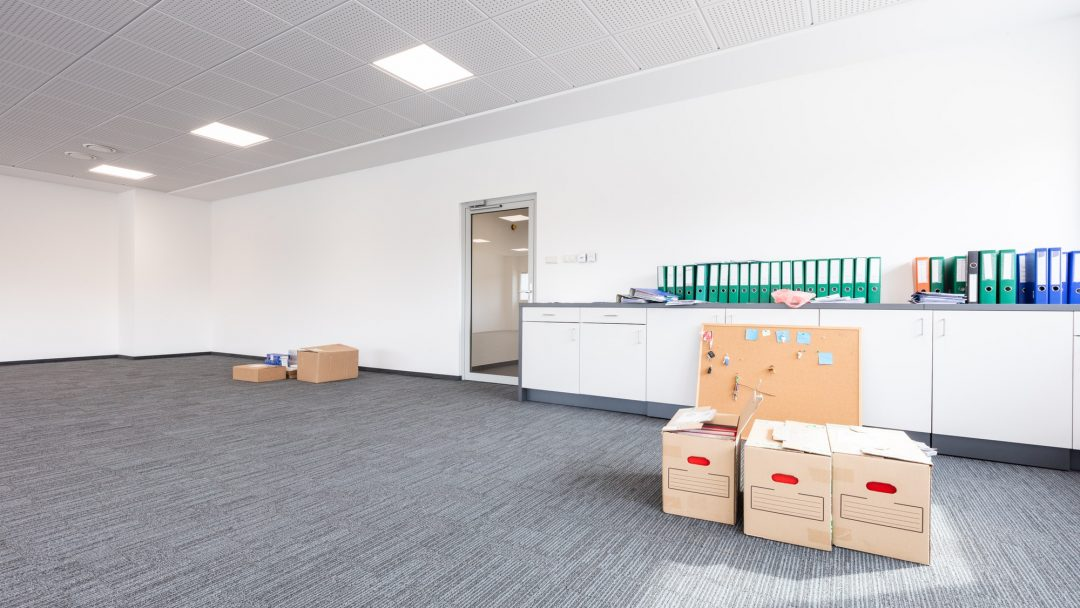 Office move, cardboards for moving